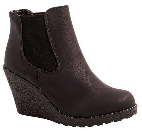 Botas de cuña para mujer de Elara, modelo Chelsea, de piel sintética, gruesas: Amazon.es: Zapatos y complementos