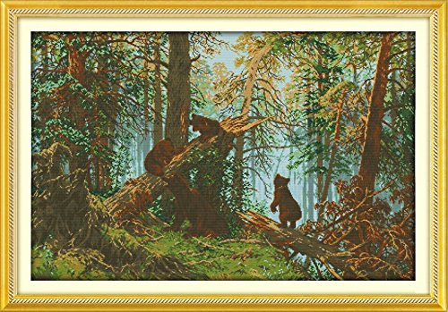 """Good Value Cross Stitch Kits Beginners Kids Advanced-Forest Collection 11 CT 41""""X 28"""", DIY Handmade Needlework Set Cross-Stitching Accurate Stamped Patterns Embroidery (The Pine Forest Morning)"""