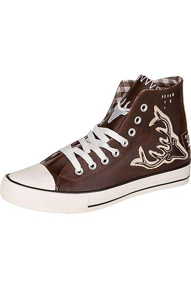57fbb9165fd1 Trachten Sneaker Leder im Chucks-Stil  Hirsch, Braun,  Amazon.de ...