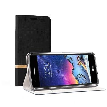 Funda LG K4 2017,SunFay Cartera Carcasa Flip Folio Caja Piel PU Suave Super Delgado Estilo Libro,Soporte Plegable para LG K4 2017 - Negro
