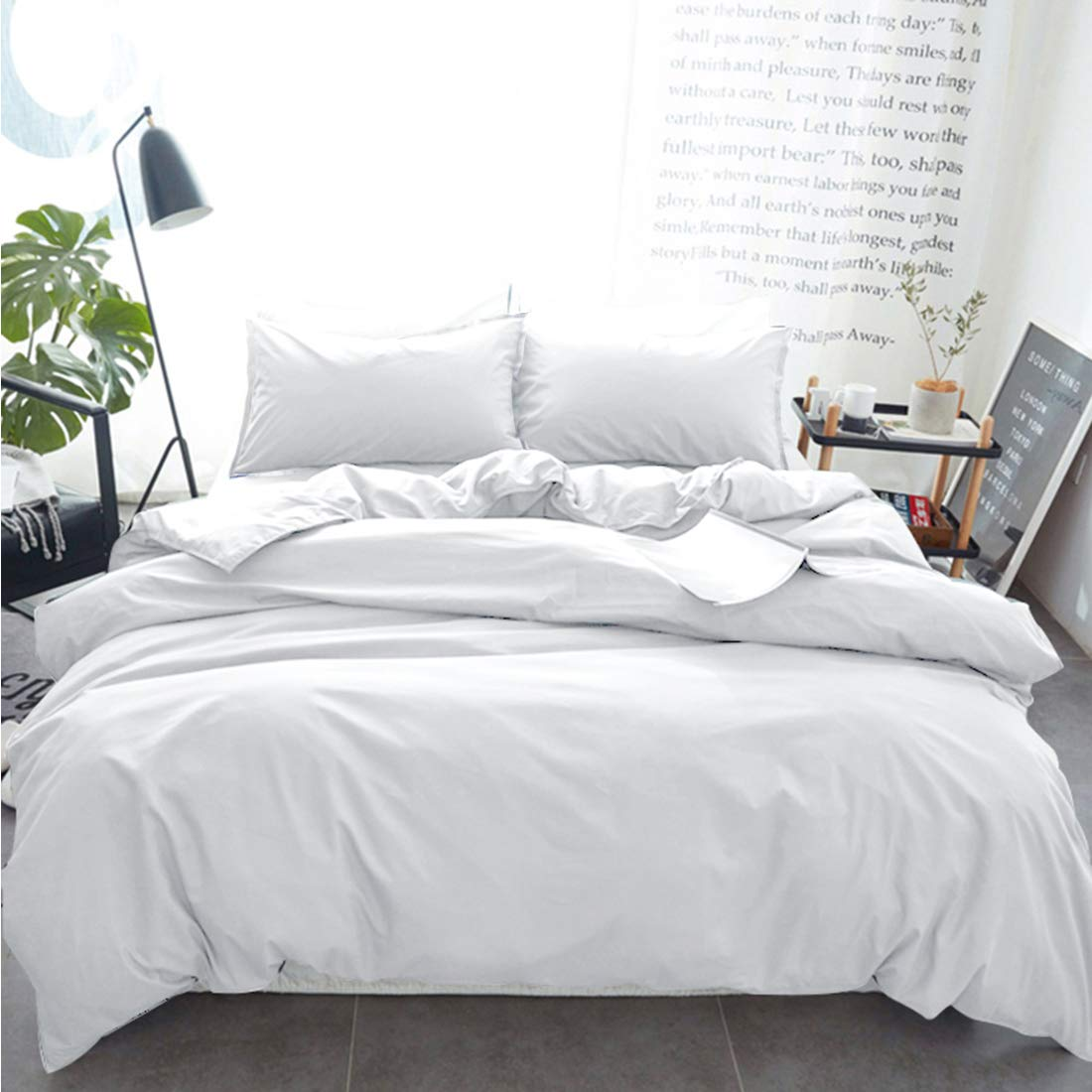 INGALIK Bedding 3 Piece Duvet Cover Set Queen Size with Zipper Closure Ultra Soft Breathable 100% Washed Microfiber Hotel Luxury Solid Color Collection 3pc (1 Duvet Cover + 2 Pillow Shams) White