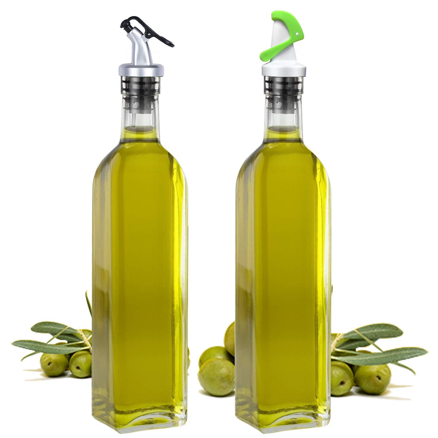 2 Pack 16.5oz Glass Olive Oil Bottle Set,with Stainless Steel Rack and 2 Condiment bottles Set, Elegant Life Vinegar Cruet Bottle Set (2 Kinds of Oil Dispensing Pour Spouts for Easy Pouring) by Elegant Life