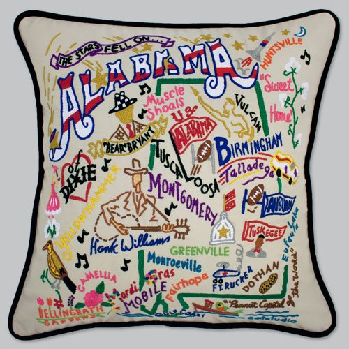 Catstudio Alabama Pillow - Original Geography Collection Home Décor 001(CS) by Catstudio Embroidered Pillow