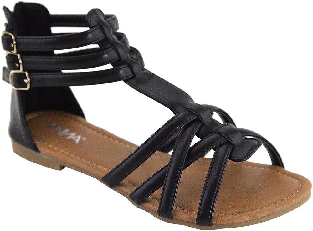 Color:Black ANNA Mavis-7 Women Buckle Zip Ankle Cuff Flat Gladiator Sandal Run Half Size Big Size:9