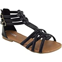 ANNA Mavis-8 Women Buckle Zip Ankle Cuff Flat Gladiator Sandal Run Half Size Big, Color Black, Size:7.5