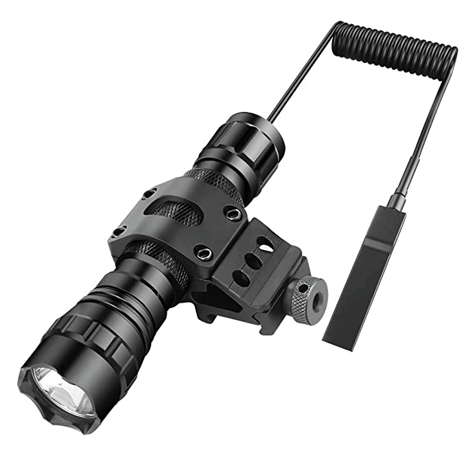 BESTSUN LED Tactical Flashlight Cree Xm-L2 LED 1200 Lumens Single Mode Hunting Light with Pressure Switch, 45 Degree Picatinny Mount Rail Offset Ring ...
