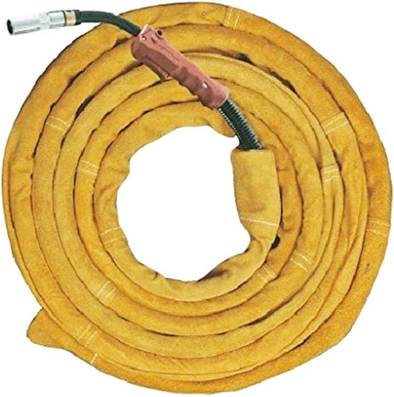 foreverwen TIG Welding Torch Cable Cover Flame-Resistant Leather Kevlar Stitched,Yellow MIG//Plasma Cable Sleeves Tig Cover