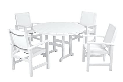 Prime Amazon Com Polywood Pws155 1 Wh901 Coastal 5 Piece Dining Dailytribune Chair Design For Home Dailytribuneorg