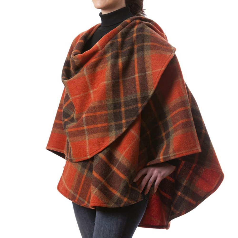 dd17f0f216f John Hanly Women s Wool Cape 100% Lambswool Orange   Brown Plaid Made in  Ireland