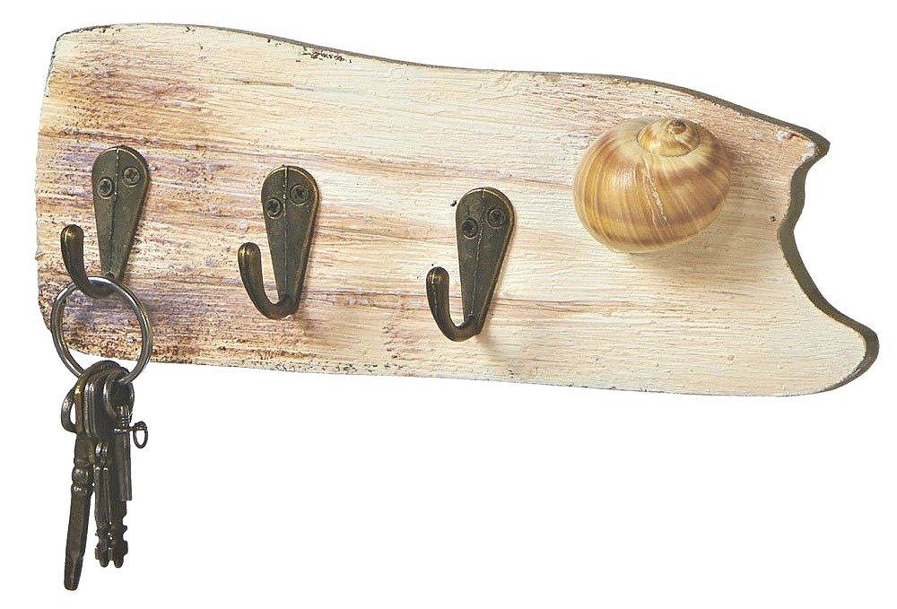 Driftwood 3 Hook Key Rack with Shell