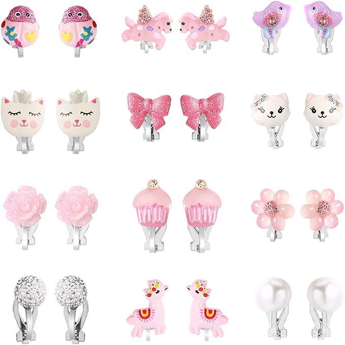 Kids Animal Earrings Ear Clips Non-Pierced Ears Gold-Tone Tween Looks Like Pierced Invisible Slip On Clip On Giraffe Earrings Girls