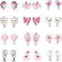 PinkSheep Bling Clip On Earrings for Little Girls, Unicorn Earrings Cake Earrings Ladybug Earrings for Kids, 12 Pairs, Best Gift