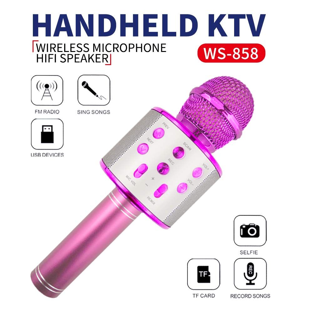 KIMMI Kids Karaoke Microphone , Singing Machine Microphone for Girls Home Party Gift for Girls Boys Children Kids Age 5-13 Year Old Girls Gift Wireless Microphone Bluetooth Pink Mic by KIMMI (Image #1)