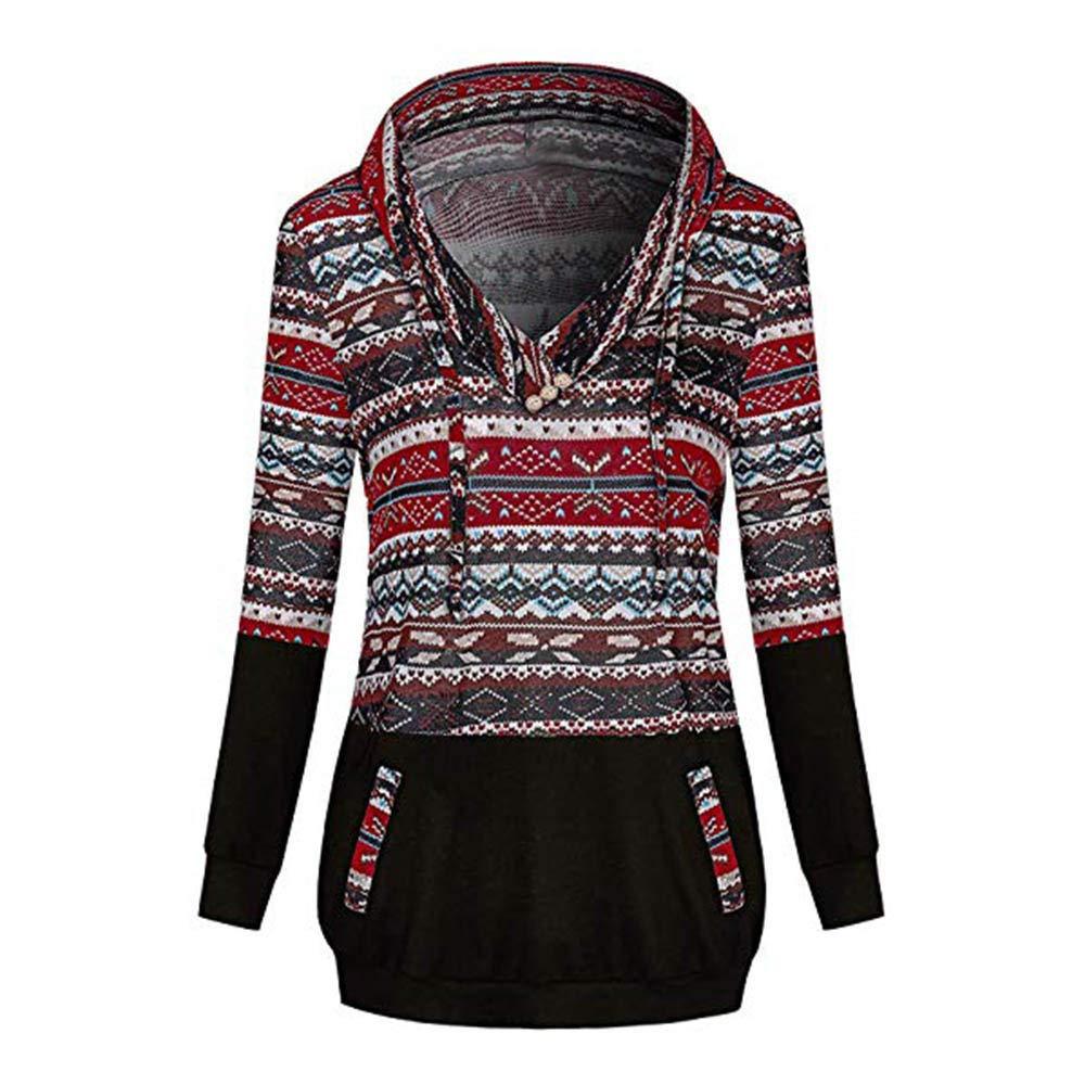 WOCACHI Christmas Women Hoodies Boho Sweatshirt Xmas V Neck Tops Jumper Pullover WOCACHI-181106