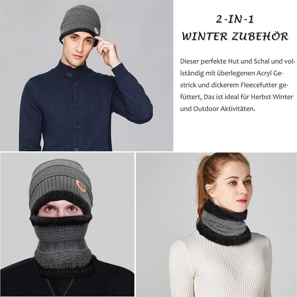 HZQDLN Inverno Uomo Donna Sciarpa e cappello Nuovo fodera in pile Design  Sciarpa e berretto invernale unisex intrecciato a mano (Grigio)  Amazon.it   ... c44fb4886b9e