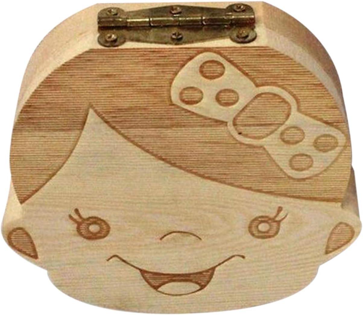 FayOK Creative Baby Teeth Box Saver Storage Box Wooden Children Teeth Holder Organize Box Milk Teeth Keepsake for Girls Boys