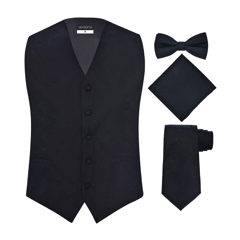 Men's 4 Piece Paisley Vest Set, with Bow Tie, Neck Tie & Pocket Hankie - (L (Chest 44), Silver/Black)