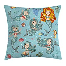 Kids Throw Pillow Cushion Cover by Ambesonne, Cute Collection of Mermaids with Different Types of Sea Creatures Marine Decor Print, Decorative Square Accent Pillow Case, 16 X 16 Inches, Teal Orange