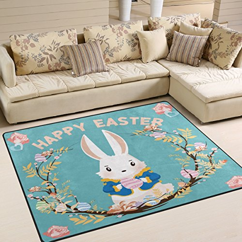 ALAZA Happy Easter Day Flower Bunny with Egg Vintage Area Ru