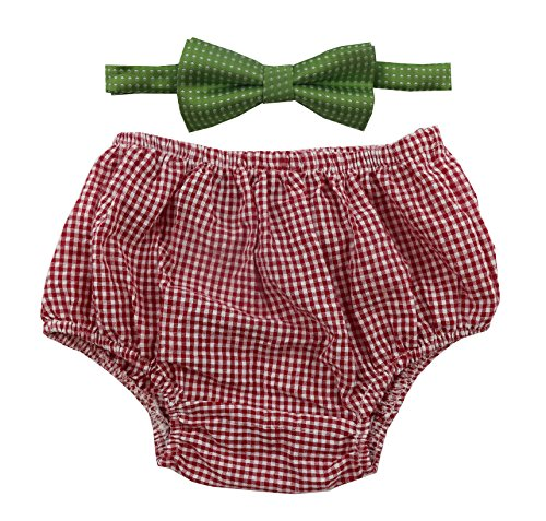 Gentlemen Ties Cake Smash Outfit Boy First Birthday Includes Bloomers and Bow Tie (Red White Plaid Bloomers and Green Polka Dot Bow) (Green And White Polka Dot Bow Tie)