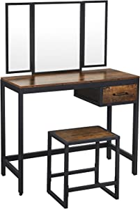 VASAGLE Vanity Table Set, Makeup Table with Stool, Tri-Fold Mirror, 1 Drawer, Industrial, Rustic Brown and Black URVT01BX