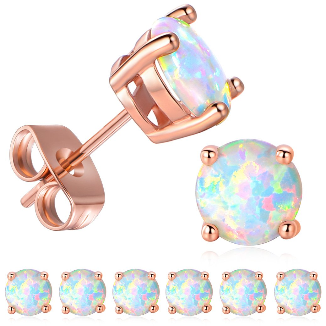 94955d738 GEMSME 18K Rose Gold Plated Opal Stud Earrings 6MM Round For Women ...
