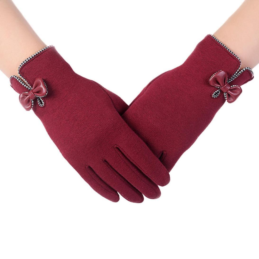 Tenworld Womens Girls Touchscreen Winter Party Dress Bow Warm Gloves Tenworld-gloves