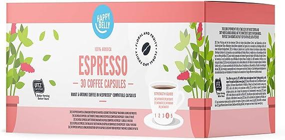 Marca Amazon Happy Belly Espresso Café UTZ molido de tueste natural en cápsulas (compostables) compatibles con Nespresso, 30 cápsulas (3x10)