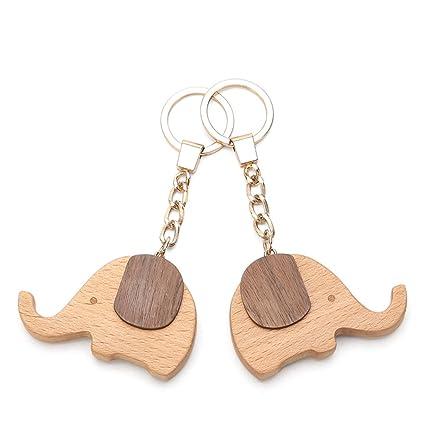 CJH Llavero creativo de madera llavero personalizado pareja ...