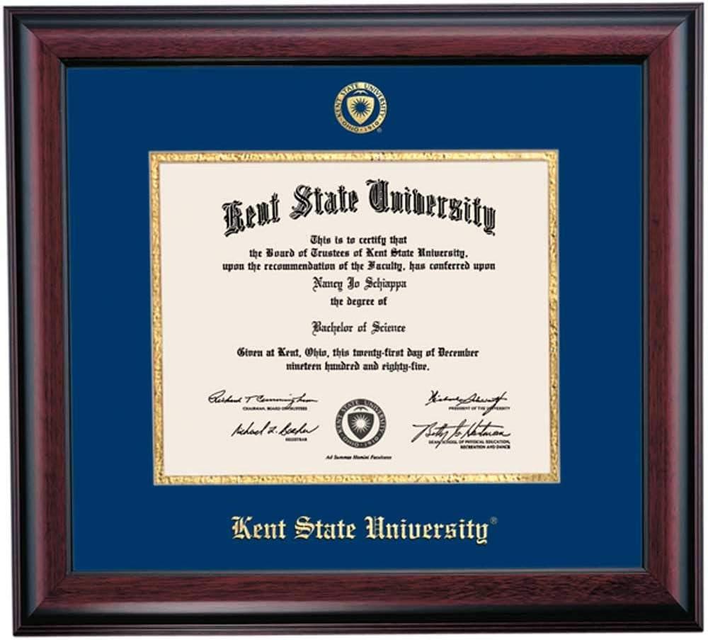Ocm Diplomadisplay Traditional Frame For Kent State University Golden Flashs 8 1 2 X 11 Graduate Degree Diplomas Navy Gold Mat Home Office Graduation Gift