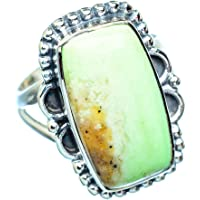 Gaspeite Ring Size 6.75 (925 Sterling Silver) - Handmade Boho Vintage Jewelry RING953489