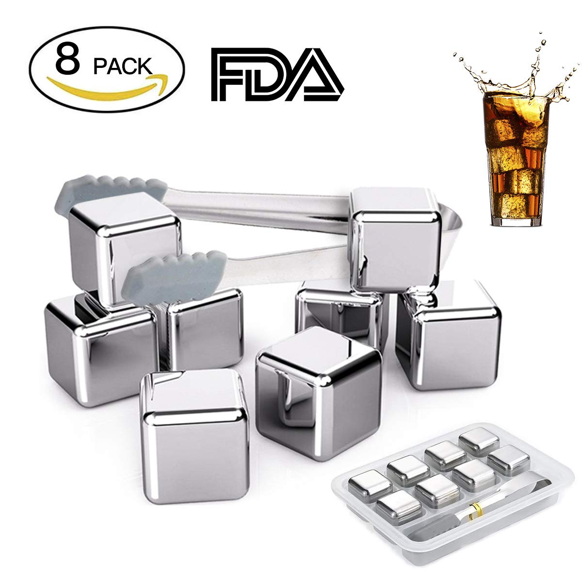 Fangie Whiskey Steel Ice Cubes,Set of 8 Stainless Steel Reusable Ice Cubes Chilling Stones with Tongs for Whiskey WineStones Chilling Rocks Keep Your Drink Cold Longer Whiskey Gifts for Men Whisky Reu