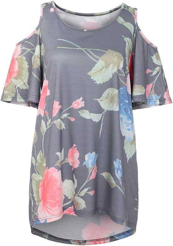 Womens Cold Shoulder Short Sleeve Tops Elegant Tunic Loose Blouse Shirts IEasⓄn Women Top