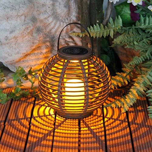 PINCHU Waterproof LED Solar Powered Candle Lantern With Flickering Solar Lamp Outdoor Decorative Solar ()