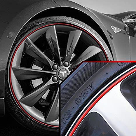 Full Kit Upgrade Your Auto Wheel Bands Red in Red Pinstripe Rim Edge Trim for Tesla S