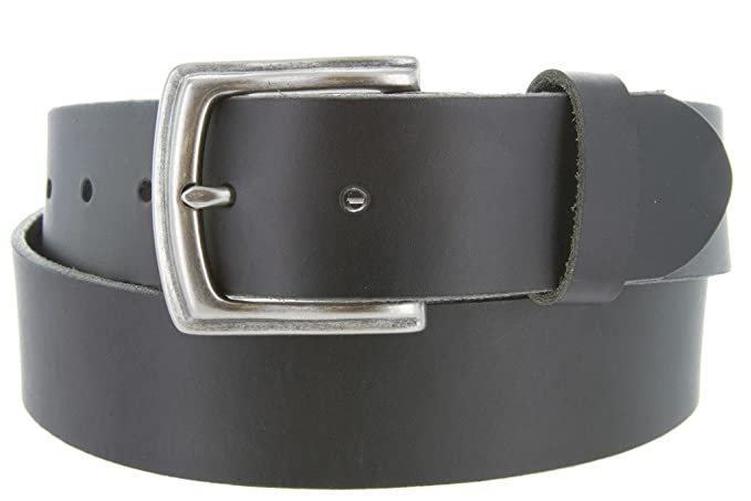 b454a439c88 Big and Tall Womens Oil Tanned Solid Leather Belt with Vintage Metal Buckle (Black