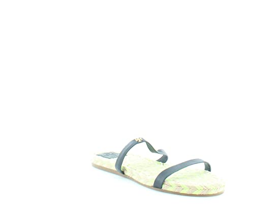 804a0e4ca Tory Burch Two-Band Flat Espadrille Navy Vegan Leather Slide Sandals (7.5)