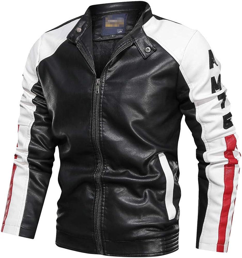 GUOCU Chaquetas de Cuero Hombres Chaquetas Moto Biker Invierno Suave Chaqueta de Motorista de Cuero Coat Capa Abrigo Jacket Cazadora