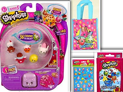 Shopkins S5 Fun Bundle: Adorable Shopkins 5 Pack Assorted Collectible Set, Reusable Bag, Jumbo Card Game & 100 Sticker Set (Bruise Colors)