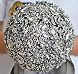 Abbie Home Handmade Full Rhinestone Luxury Bridal Bouquet Brooches Crystal Wedding Roses (Grey)
