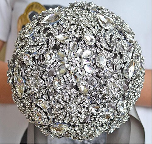 Abbie Home Handmade Full Rhinestone Luxury Bridal Bouquet Brooches Crystal Wedding Roses (Grey) by Abbie Home