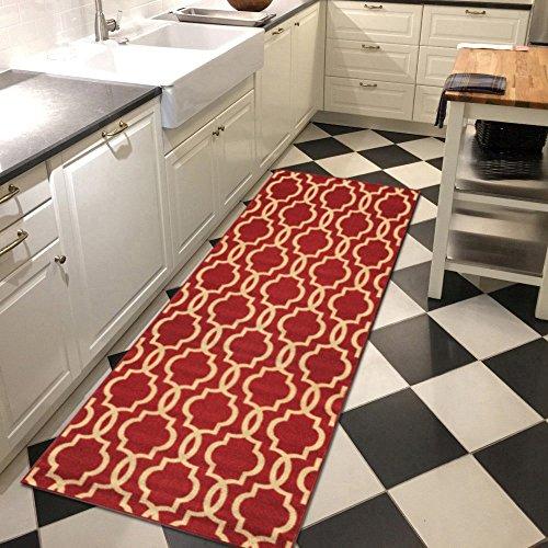 custom size fancy moroccan trellis rubber backed nonslip hallway stair runner rug carpet 22 u0026 31 inch wide choose your length
