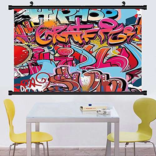 Gzhihine Wall Scroll Graphic Decor Hip Hop Street Culture Harlem New York Wall Graffiti Spray Artwork mage Wall Hanging Multicolor - Harlem And Irving