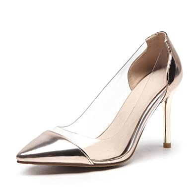 d191933887 Odetina Gold Women's Elegant Slip-On Pointed Toe Clear High Heels Dress  Pumps Shoes Size
