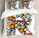 Ambesonne Letter R Duvet Cover Set King Size, Realistic Looking Volleyball Basketball Soccer Balls Language of the Game Theme, Decorative 3 Piece Bedding Set with 2 Pillow Shams, Multicolor