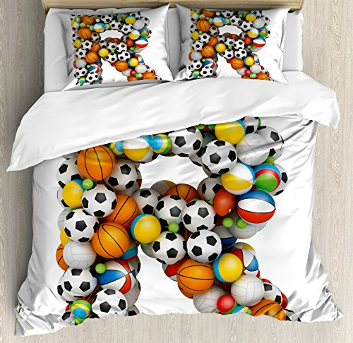 Letter R Queen Size Duvet Cover Set by Ambesonne, Realistic Looking Volleyball Basketball Soccer Balls Language of the Game Theme, Decorative 3 Piece Bedding Set with 2 Pillow Shams, Multicolor by Ambesonne