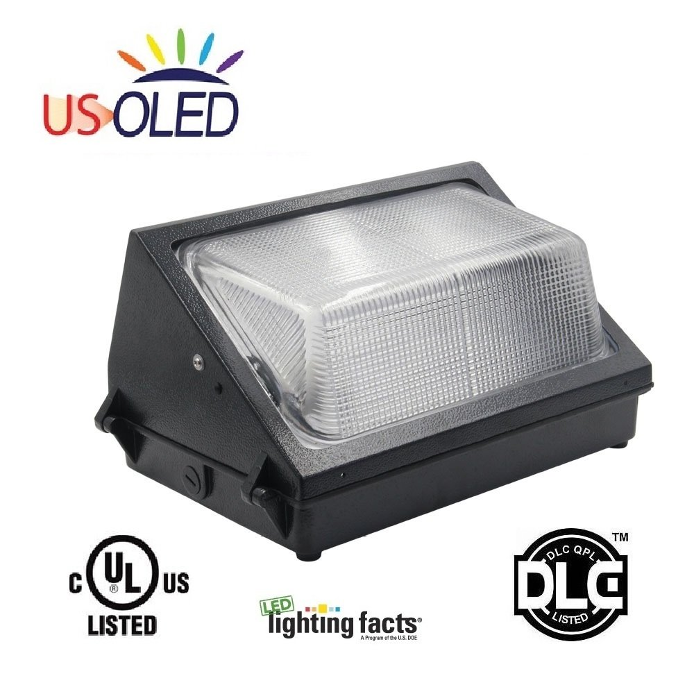 Us oled 60w outdoor led wall pack light fixturelumileds leds6124lm 250w400w hid hps replacement5700k cool whiteul dlc listedip65 waterproof for