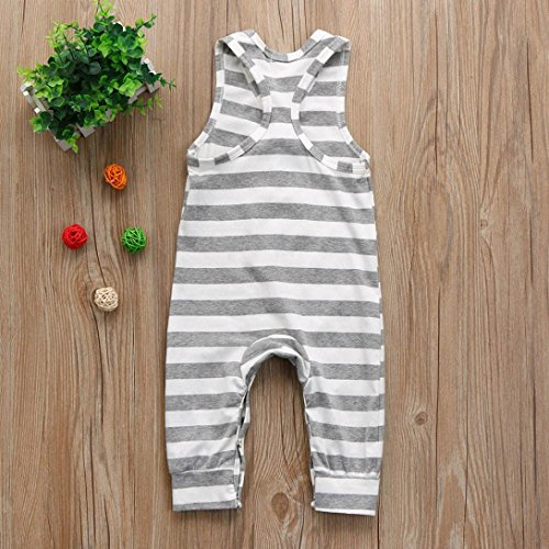 9d09d9a2f41 iumei Baby Boys Girls Gray and White Stripe Sleeveless Romper Bodysuit  Jumpsuit Cotton