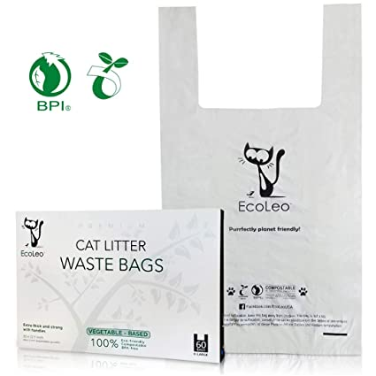 25570bf5df4 EcoLeo Cat Litter Waste Bags - New Larger Size, X-Large, Certified  Compostable, Biodegradable, Thick, Leak Proof, Pet/Dog Poop Bags with  Easy-Tie Handles ...