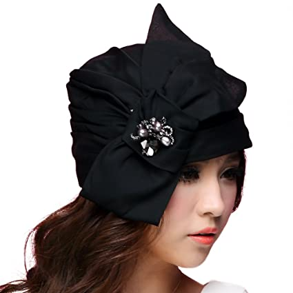049edfc344075a Amazon.com: June's Young Women Hats Bucket Hat Brimless Flower Soft Fabric  Black: Home & Kitchen